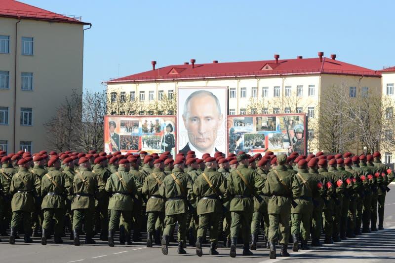 Na terra de parada da unidade militar de tropas internas do MIA de Rússia fotos de stock