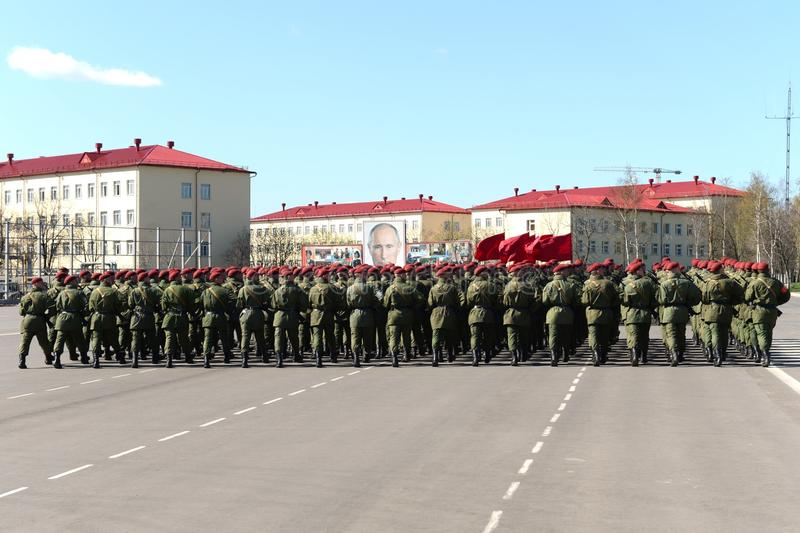Na terra de parada da unidade militar de tropas internas do MIA de Rússia imagens de stock