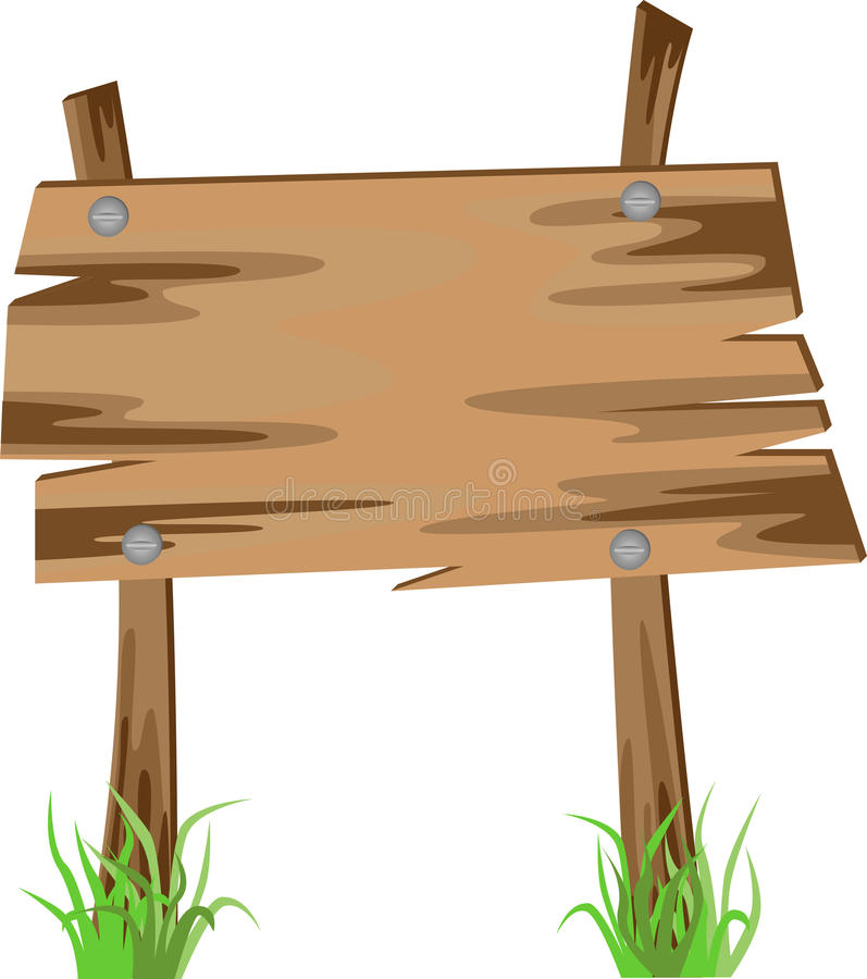 Na trawie drewniany znak ilustracja wektor