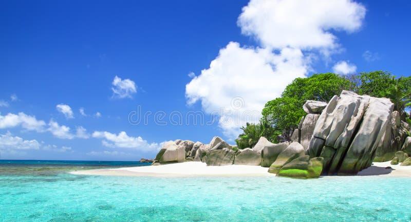 Na tropikalnej а plaży biały koralowy piasek. obraz royalty free