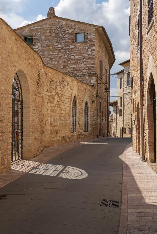 Na ulicach Assisi Miasteczko w prowincji Perugia, Włochy, Umbria region obraz stock