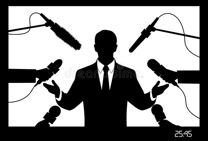 Na wizerunku polityk daje wywiad przedstawia ilustracja wektor