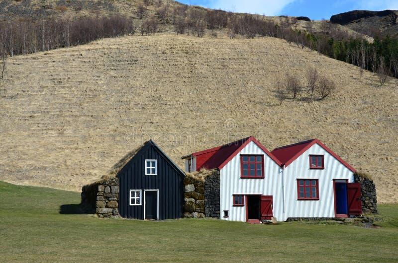 Na wolnym powietrzu muzeum z Starymi typowymi wiejskimi Islandzkimi domami fotografia royalty free