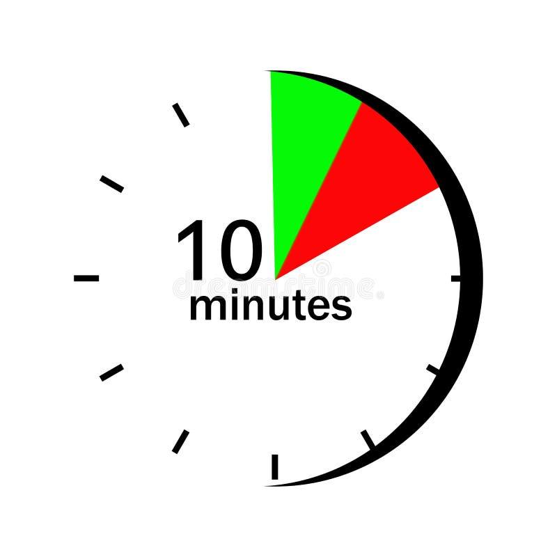 Na zegarku tarcza w czerwieni i zieleni zaznaczał sektory 10 minut ilustracja wektor