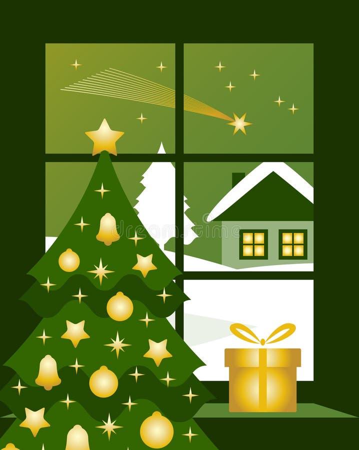 na zewnątrz okno Boże Narodzenie kometa ilustracja wektor