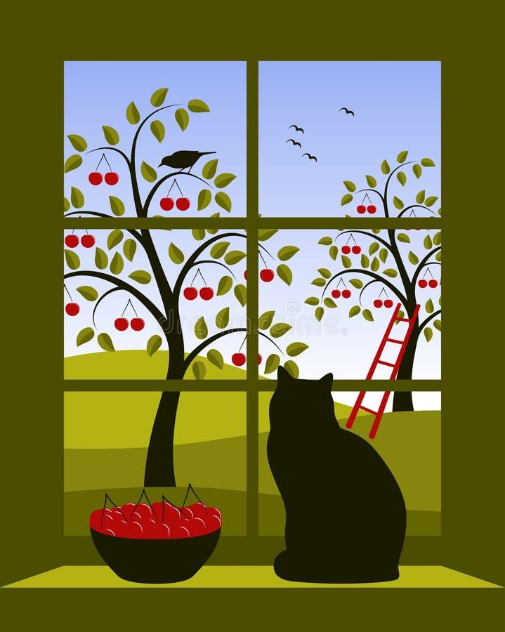 na zewnątrz okno czereśniowy sad ilustracja wektor