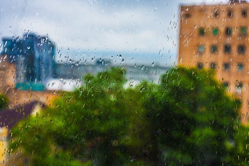 na zewnątrz okno rain obraz stock