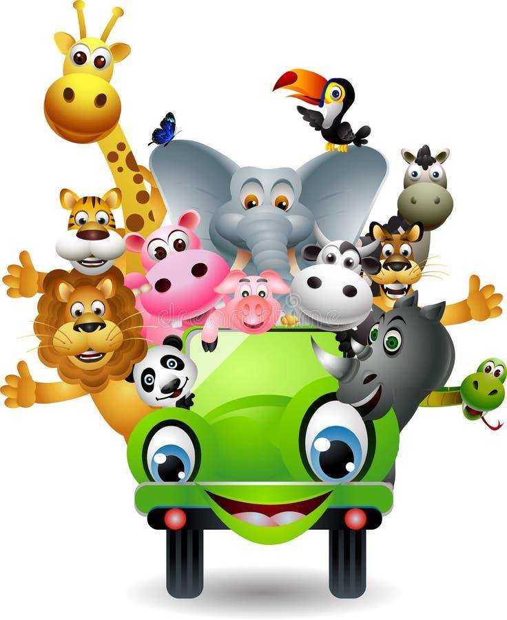 Na zielonym samochodzie śmieszna zwierzęca kreskówka ilustracja wektor