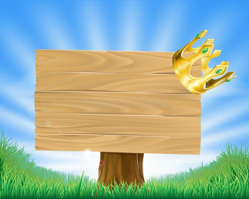 Na znaku korony złoty obwieszenie royalty ilustracja