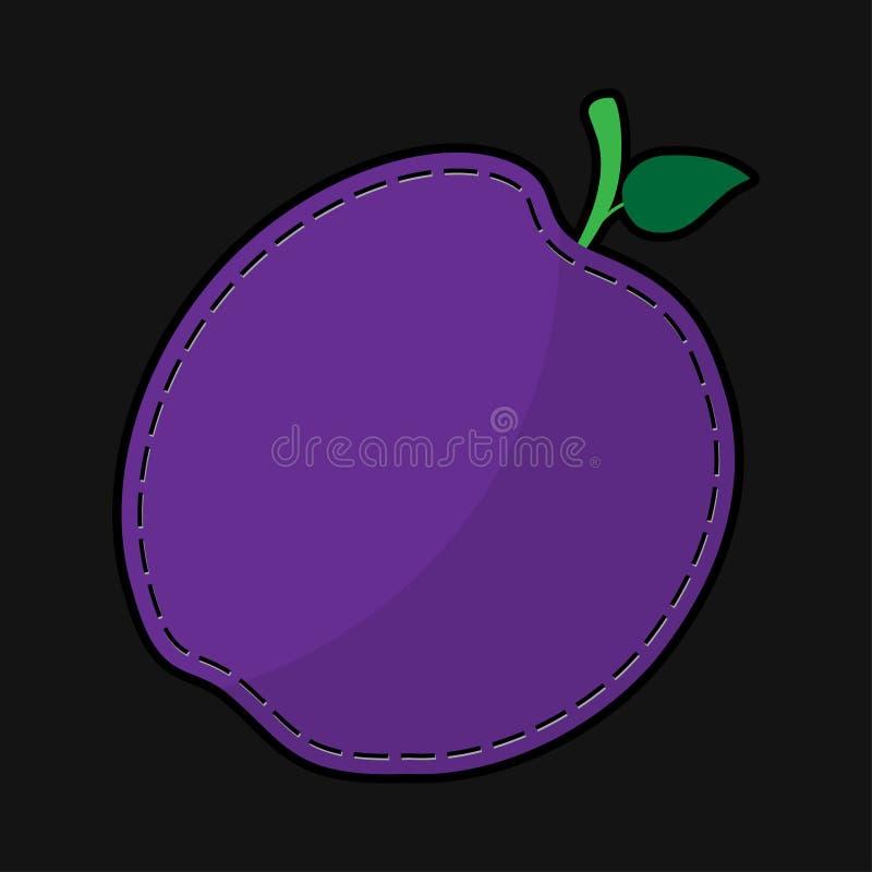 Naad violette pruim met schaduw royalty-vrije illustratie
