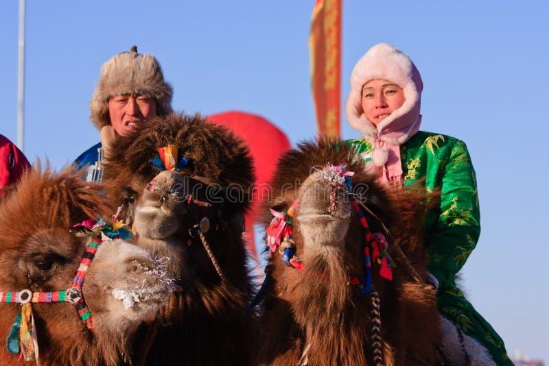 Naadam camel racers stock photography