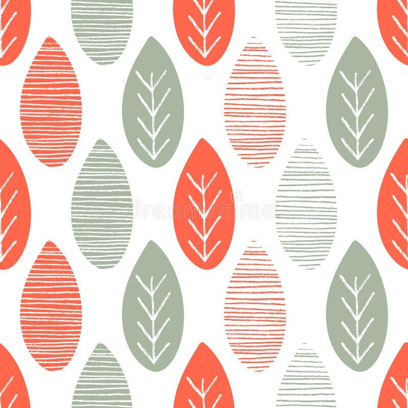 Naadloos aard vectorpatroon Oranje en groene bladeren met lijnen en takjes op witte achtergrond Hand getrokken de herfstornament stock illustratie
