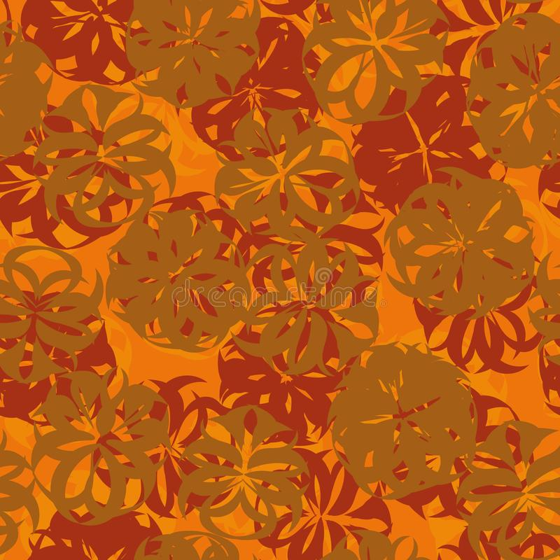 Naadloos abstract bloemen vectorpatroon in roest, oranje en rode kleuren vector illustratie