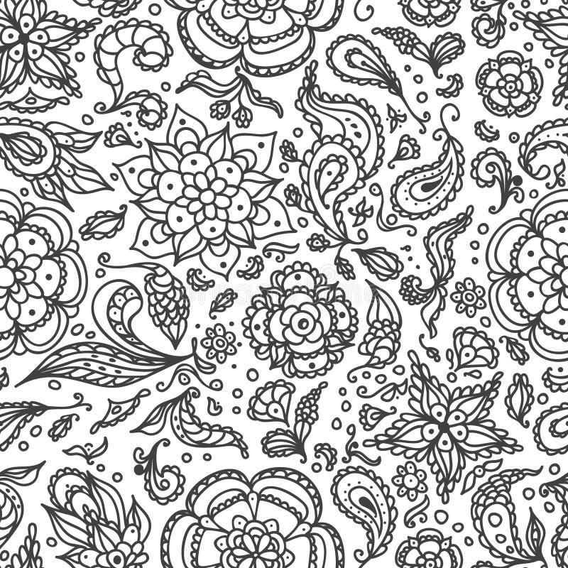 Naadloos abstract bloemenpatroon met bloemen, bloemblaadjes, bladeren, zaden, installaties in zwart wit voor het kleuren van pagi royalty-vrije illustratie