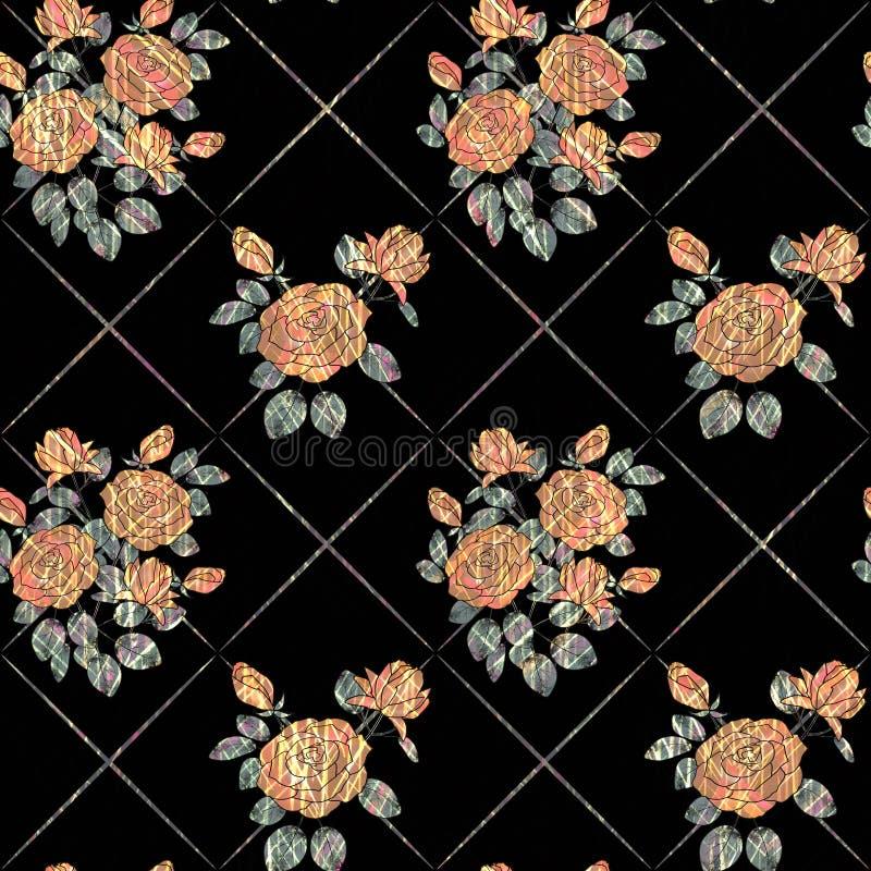 Naadloos abstract bloemenpatroon Oranje rozen op zwarte achtergrond stock illustratie