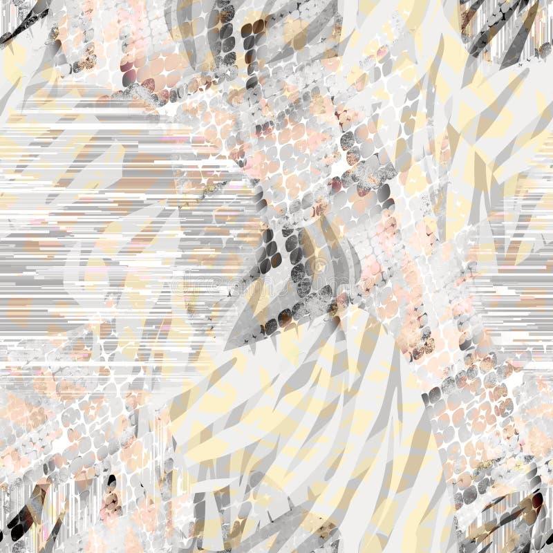 Naadloos abstract etnisch patroon met waterverfeffect royalty-vrije illustratie