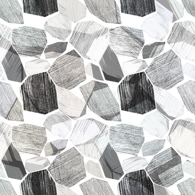 Naadloos abstract geometrisch modern patroon Zwart-witte achtergrond stock illustratie