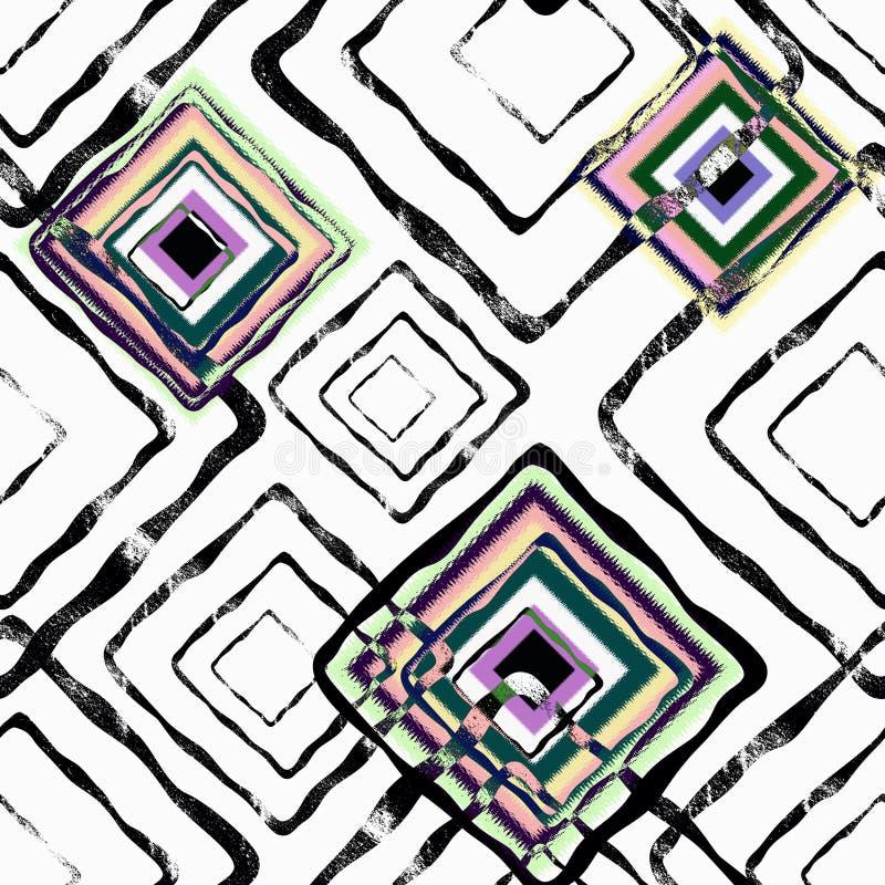 Naadloos abstract geometrisch patroon met waterverfeffect Modieus patroon voor textiel stock illustratie