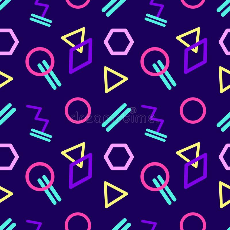 Naadloos abstract geometrisch patroon in retro stijl vector illustratie