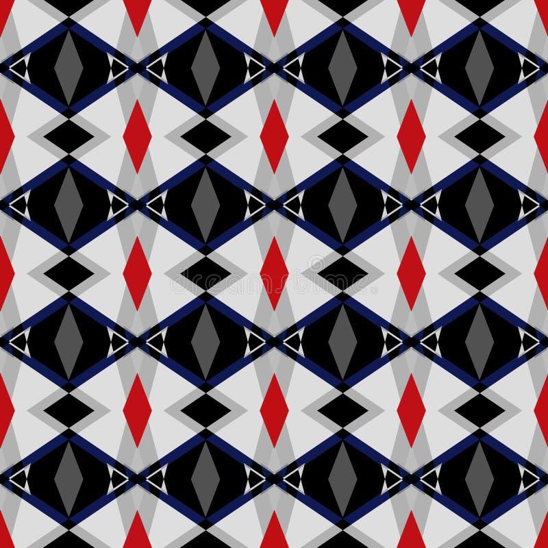 Naadloos abstract geometrisch patroon Rode, zwarte vormen op grijze achtergrond royalty-vrije illustratie