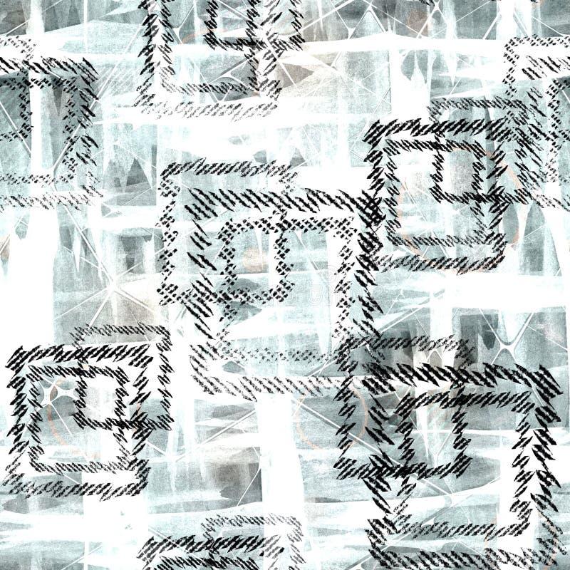 Naadloos abstract geometrisch patroon Zwarte vierkanten op een lichtblauwe achtergrond stock illustratie