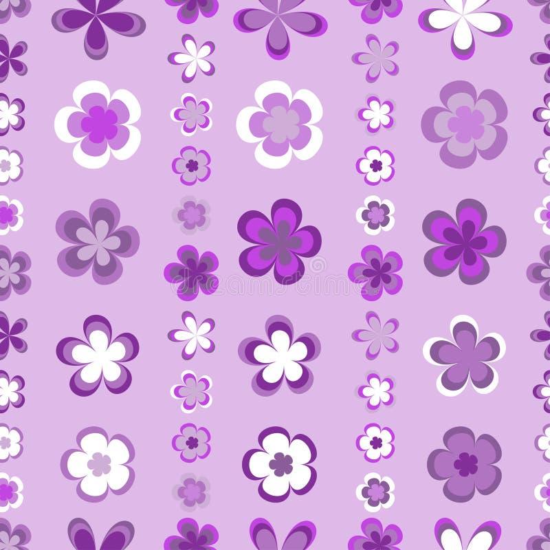 Naadloos abstract gestreept patroon van leuke roze en bruine geometrische bloemen vector illustratie