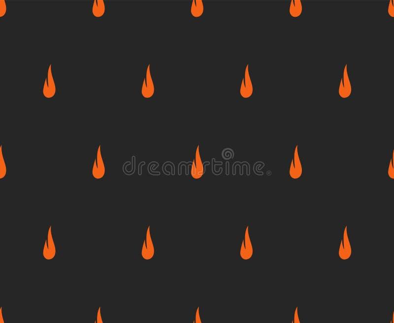 Naadloos abstract Halloween-patroon met oranje vlamsilhouet op zwarte achtergrond stock illustratie