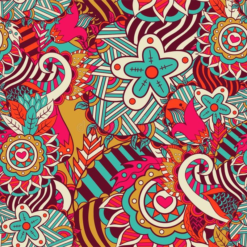 Naadloos abstract hand-drawn bloempatroon vector illustratie