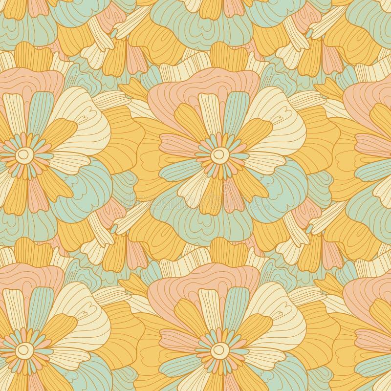Naadloos abstract hand-drawn golven en bloemenpatroon, golvende achtergrond vector illustratie