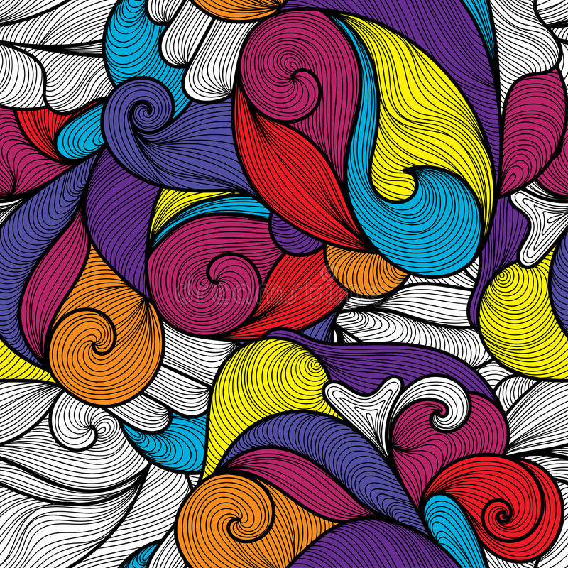Naadloos abstract hand-drawn golvenpatroon royalty-vrije illustratie