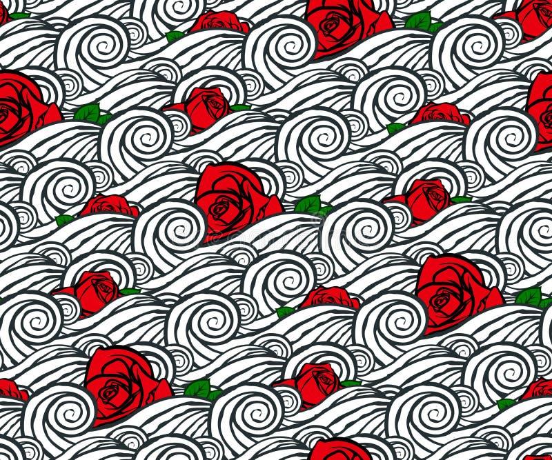 Naadloos abstract hand-drawn patroon De achtergrond van wolken Hemelzonsondergang royalty-vrije illustratie