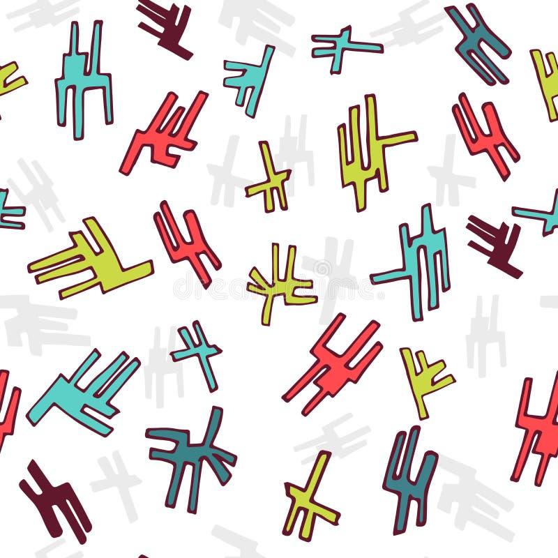 Naadloos abstract hand getrokken patroon met kleurrijke abstracte krabbels royalty-vrije illustratie