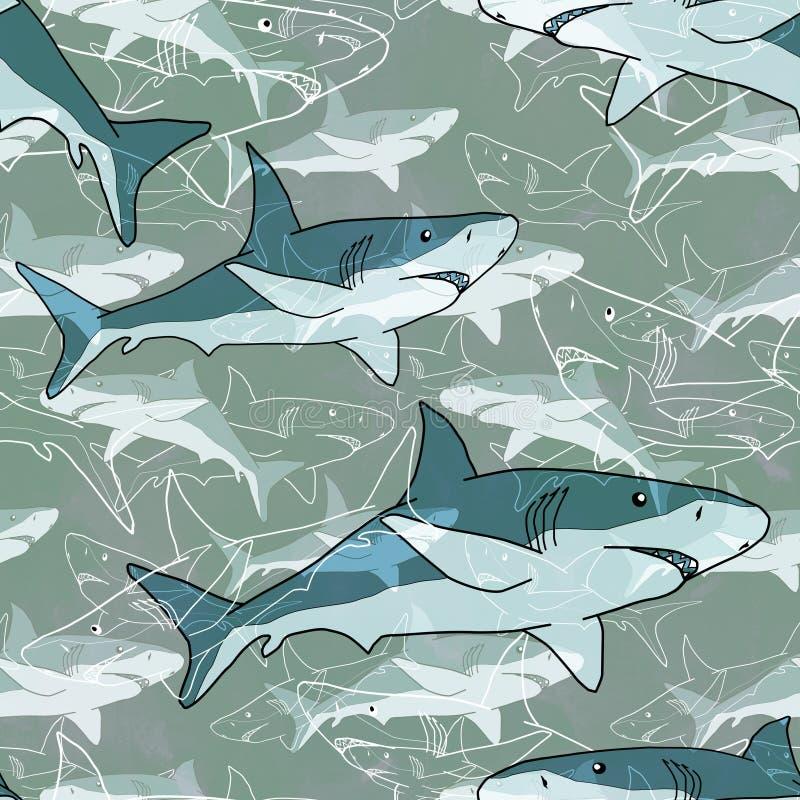 Naadloos abstract overzees patroon met haaien, lichte achtergrond royalty-vrije illustratie