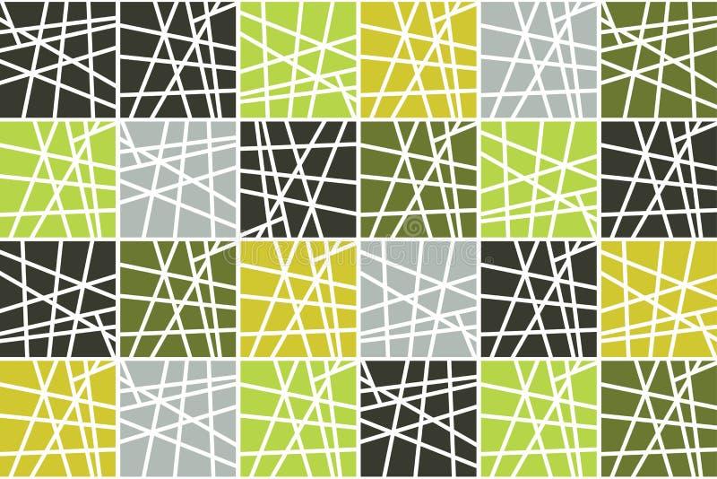 Naadloos, abstract patroon als achtergrond die met gestreepte vierkanten wordt gemaakt vector illustratie