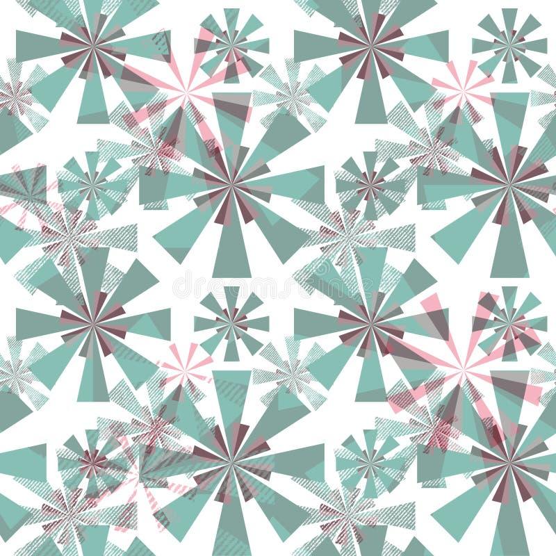 Naadloos abstract patroon Gestileerde turkooise, grijze, roze bloemen op een witte achtergrond royalty-vrije illustratie
