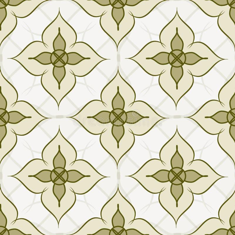 Naadloos abstract patroon Groene bloemen op een beige achtergrond royalty-vrije illustratie
