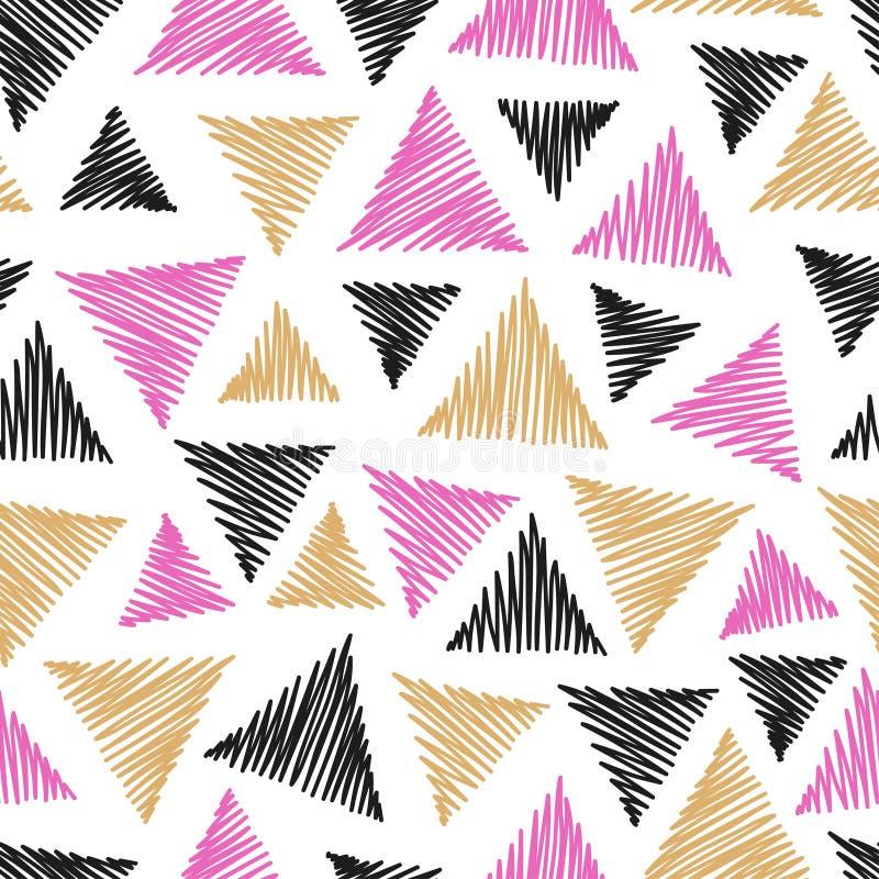 Naadloos abstract patroon met hand getrokken driehoeken stock illustratie