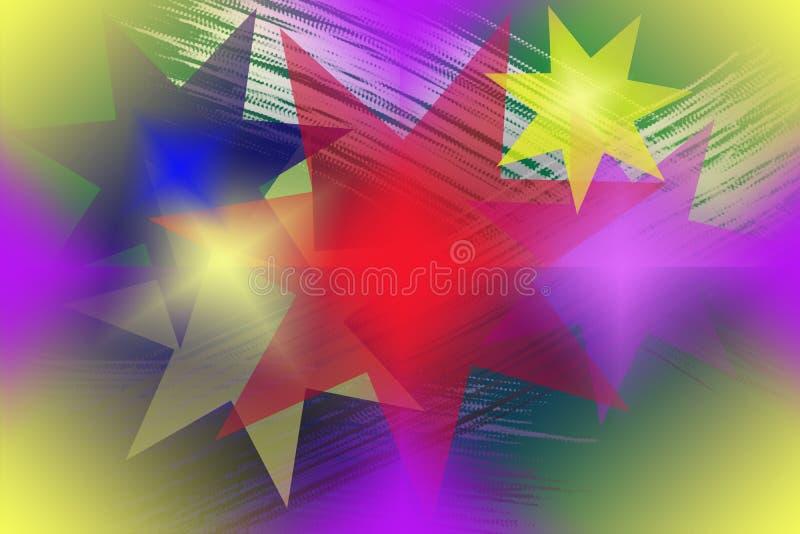 Naadloos abstract patroon met multicolored sterren royalty-vrije illustratie