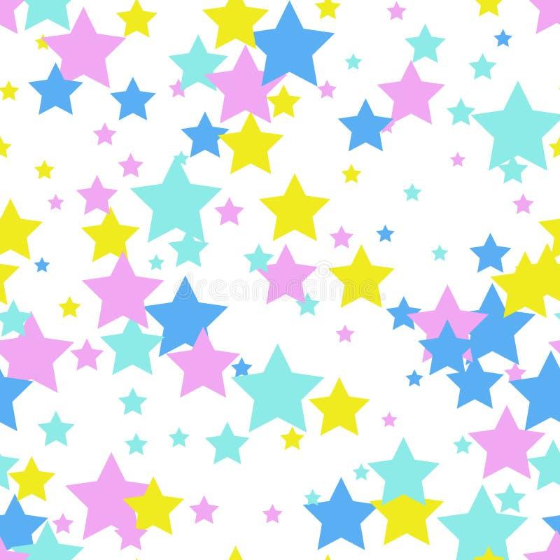 Naadloos abstract patroon met sterren De stijl van Memphis, tachtigste Decoratieve achtergrond stock illustratie