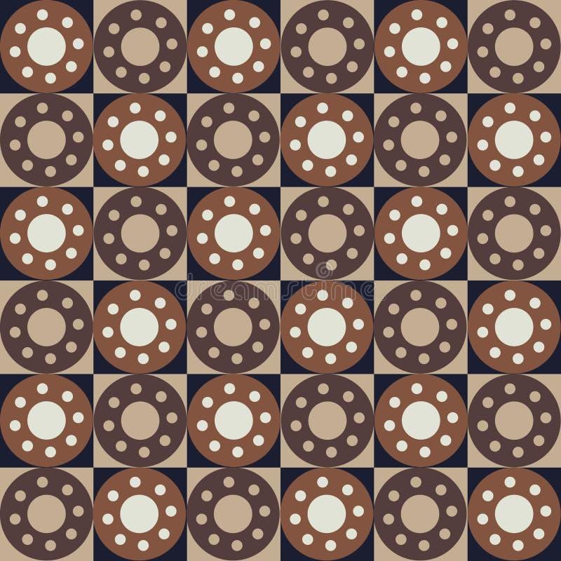 Naadloos abstract patroon met vierkanten en cirkels royalty-vrije illustratie