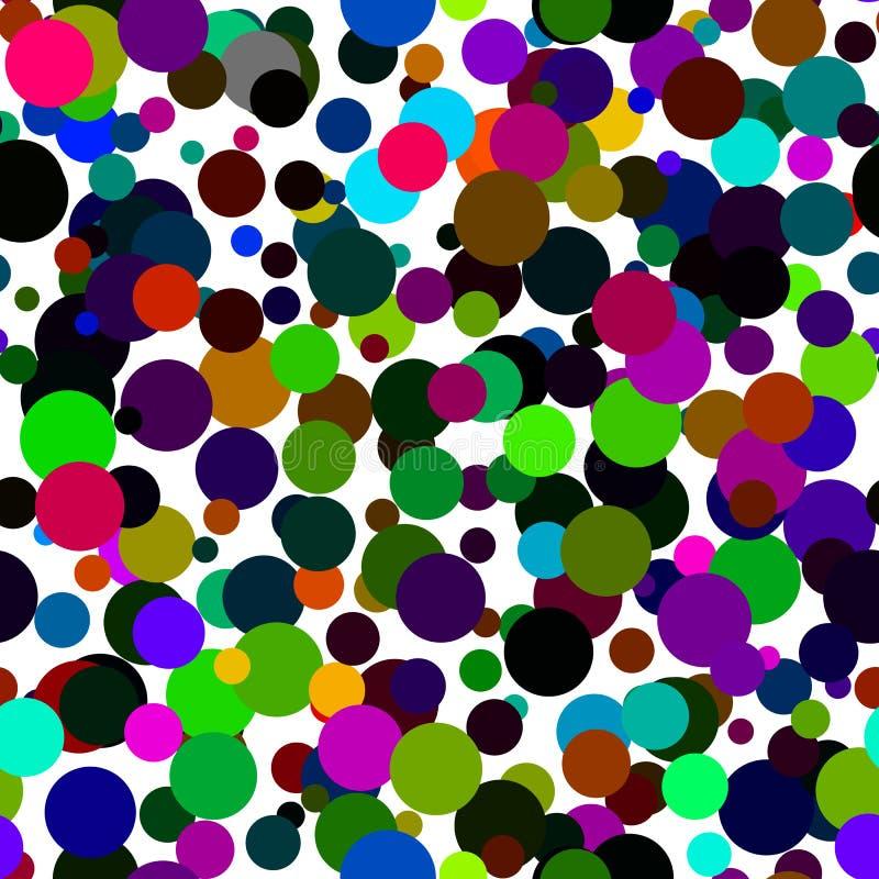 Naadloos abstract patroon van cirkels van alle kleuren van de regenboog royalty-vrije illustratie