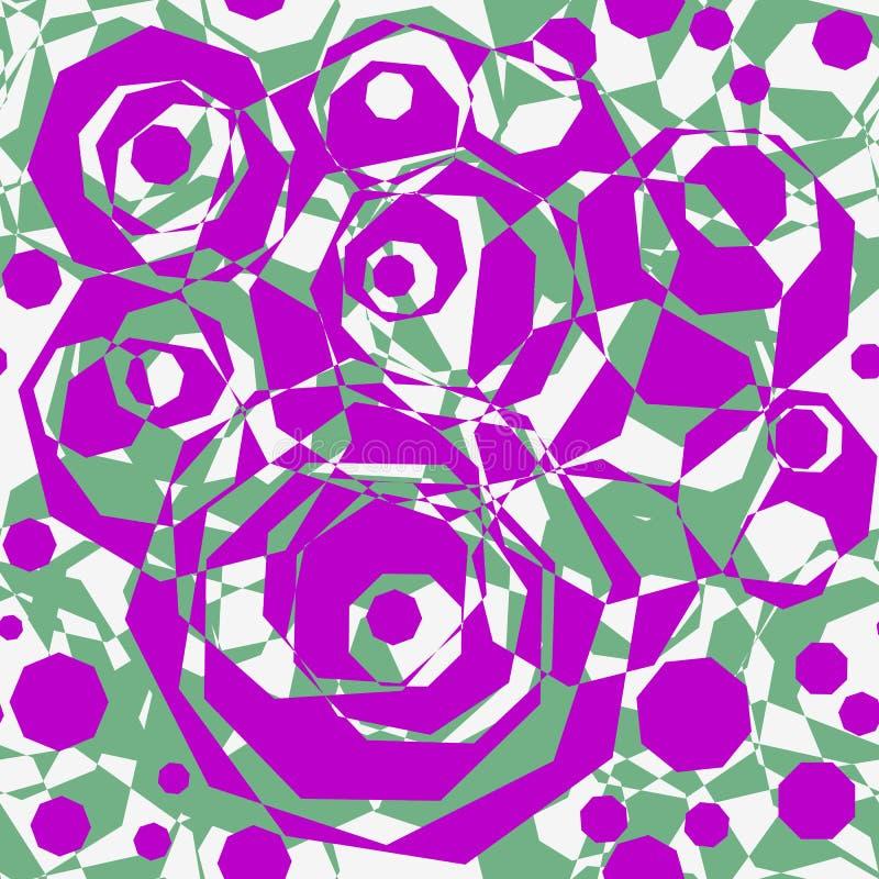 Naadloos abstract patroon van geometrische elementen Lilac en groene veelhoekige vormen stock afbeelding