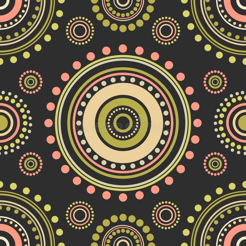 Naadloos abstract patroon van rode, oranje en groene cirkels en punten op zwarte achtergrond Caleidoscoopornament vector illustratie