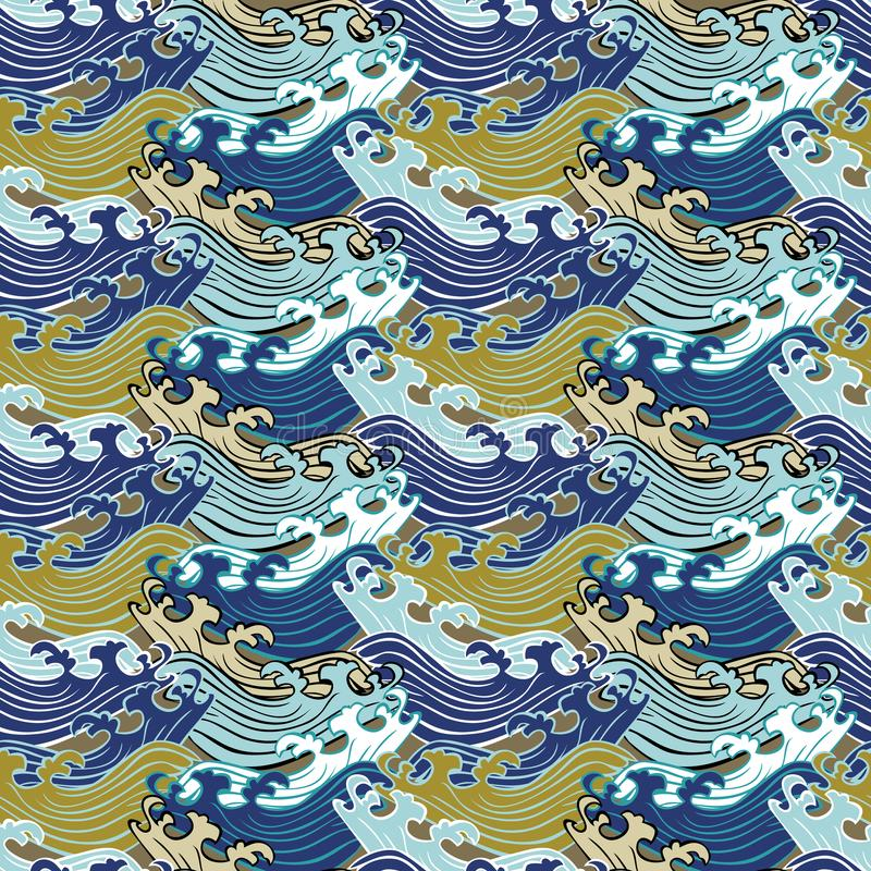 Naadloos abstract retro geometrisch patroon Swirlyornamenten in geometrische rijen royalty-vrije illustratie