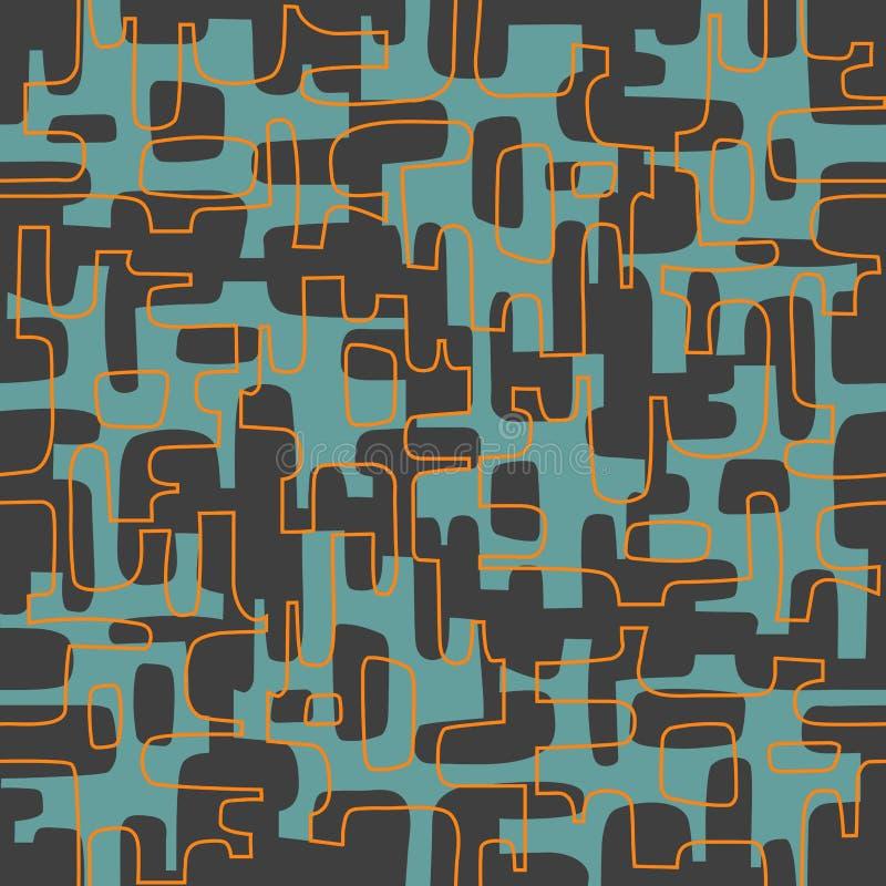 Naadloos abstract retro ontwerp van organische lijnen en vormen stock illustratie