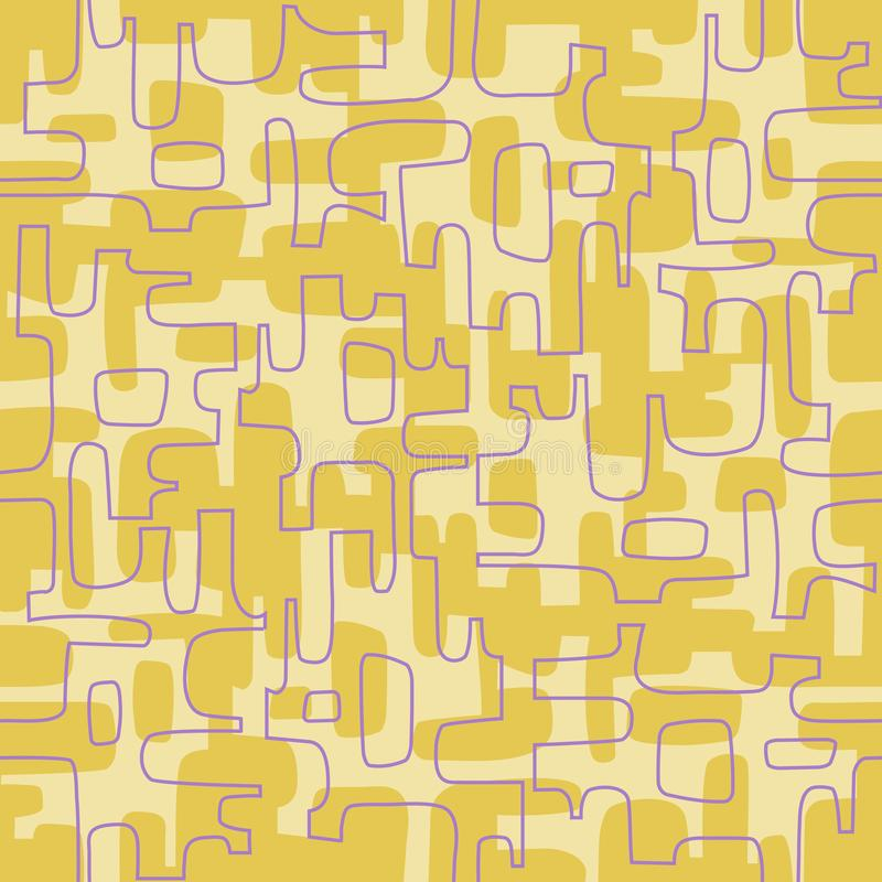 Naadloos abstract retro ontwerp van organische lijnen en vormen royalty-vrije illustratie