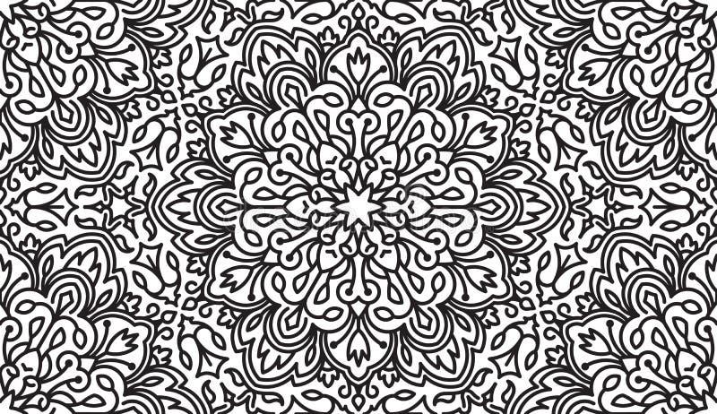 Naadloos Abstract Stammen zwart-Wit Patroon Etnische getrokken hand royalty-vrije illustratie