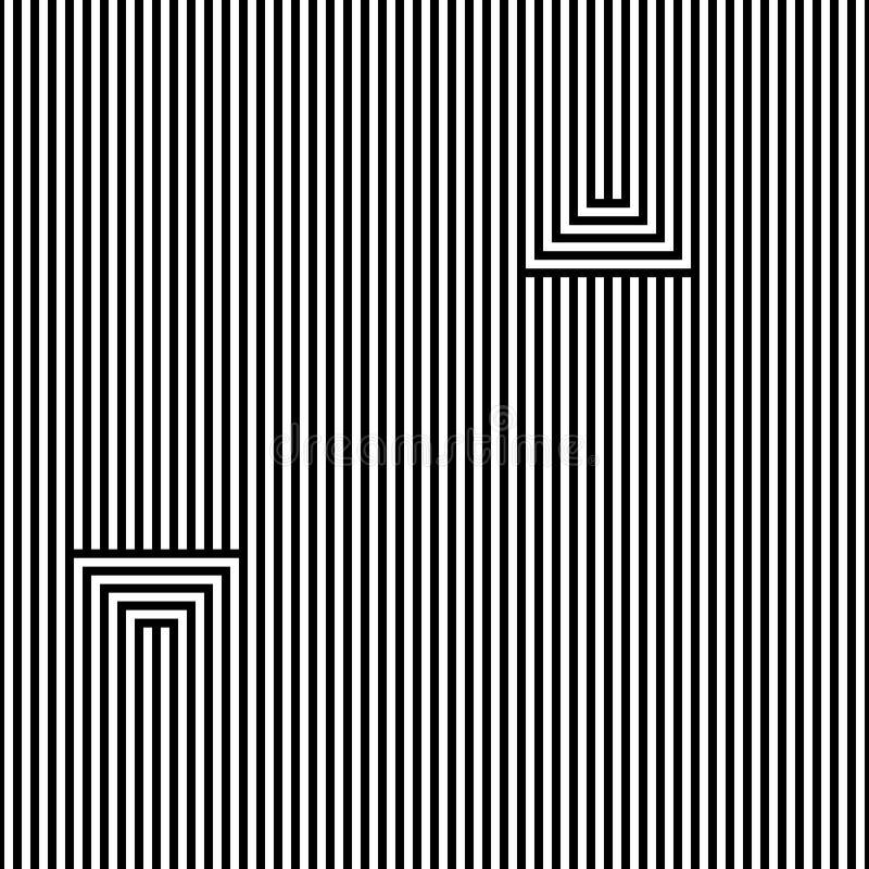 Naadloos abstract vectorpatroon Lijnen zwarte, op witte achtergrond wordt geïsoleerd die vector illustratie