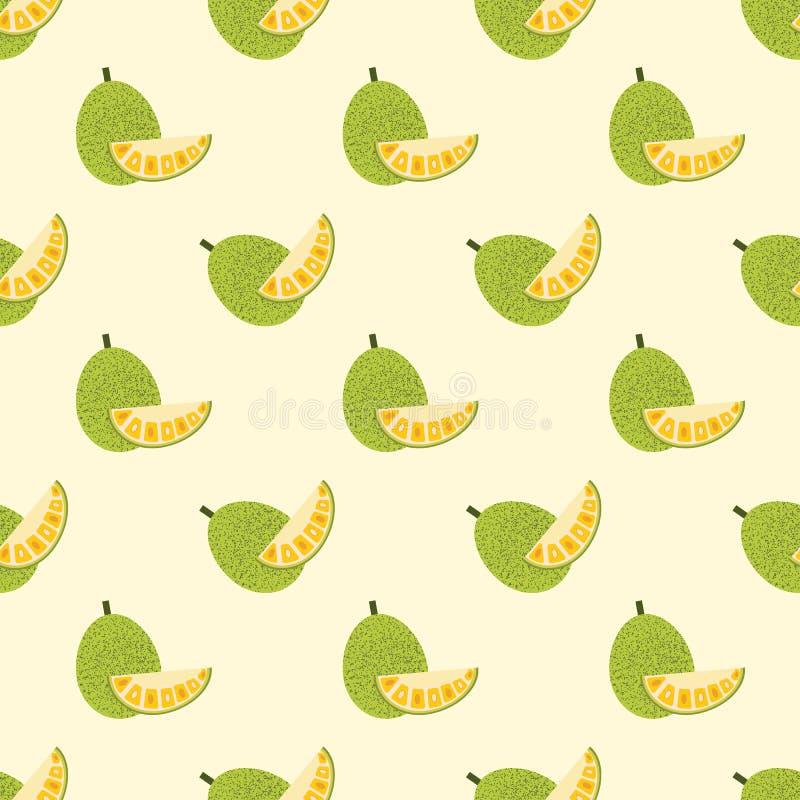 Naadloos achtergrond kleurrijk tropisch fruit jackfruit stock illustratie