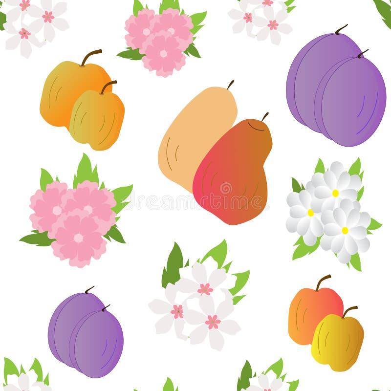 Naadloos-achtergrond-met-fruit-en-bloemen royalty-vrije illustratie